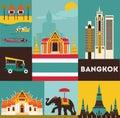 Symbols of bangkok city thailand Royalty Free Stock Images
