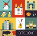 Symbols of barcelona made from different parts Stock Images