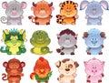 Symbols of Chinese horoscope. Royalty Free Stock Images