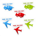 Symbols for delivery - car, airplane Stock Photo