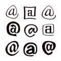 Symbols e mail on a white background Stock Photography