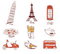Symbols of european cities set illustrations Stock Photo