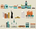 Symbols of famous cities vector Royalty Free Stock Photos