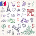 Symbols of france as funky doodles this is file eps format Stock Photos