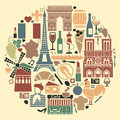 Symbols of france in the form of a circle traditional french architecture culture kitchen Royalty Free Stock Photo