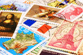 Symbols of france on french stamps the in the world reproduced its postage Stock Photography