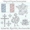 Symbols of french republic sketch set principal flag map and slogan Royalty Free Stock Photography