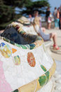 Symbols of gaudi parc details a colorful ceramic bench at guell designed by antoni barcelona Royalty Free Stock Photography