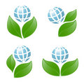 Symbols of globe with the plant Stock Images