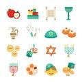 Symbols Of Hanukkah Icons Set Royalty Free Stock Photo