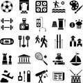 Symbols indicating illustrating football weight lifting tennis painting chess photography sailing water skiing many other hobbies Royalty Free Stock Photos