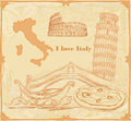Symbols of Italy vintage card Royalty Free Stock Photo