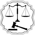 Symbols of justice scales and hammer is presented Stock Image
