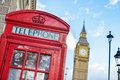 Symbols of London, a red telephone box and Big Ben inline Royalty Free Stock Photo