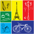 Symbols of Paris in a colored rectangle Royalty Free Stock Photo