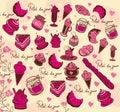 Symbols of Paris. Culinary pattern. Royalty Free Stock Photo