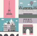 Symbols paris vector illustration Royalty Free Stock Photo