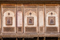 Symbols and patterns on the ancient wall six pointed star other of estate in rajasthan india Royalty Free Stock Photo