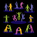 Symbols of people having fun set bright human icons black background Royalty Free Stock Images