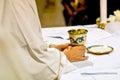 Symbols of religion : bread and wine Royalty Free Stock Photo