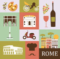 Symbols of rome in bright colors Royalty Free Stock Photo