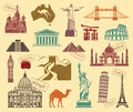 Symbols of travel icons sights the various countries the world in retrostyle Royalty Free Stock Image