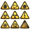 Symbols triangular warning hazard Royalty Free Stock Photo