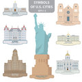 Symbols us cities set Royalty Free Stock Photos