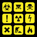 Symbols warning hazard icons set great for any use. Vector EPS10. Royalty Free Stock Photo