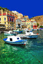 Symi island dodecanes greece colorful series Stock Images