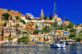 Symi island dodecanese beautiful colorful Royalty Free Stock Images