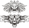 Symmetric animal tattoos