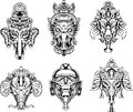 Symmetric ganesha masks set of black and white vector illustrations Stock Photo