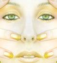 Symmetric Gold Face Of Woman