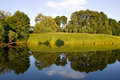 Symmetric reflection in lake Stock Photography
