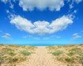 Symmetrical beach shore in platamona sardinia Royalty Free Stock Image