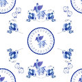 Symmetrical blue floral ornament in Gzhel style on a white backg