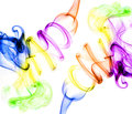 Symmetrical colorful smoke on white background picture Royalty Free Stock Images