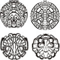 Symmetrical knot patterns set of black and white vector illustrations Royalty Free Stock Images