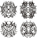 Symmetrical knot patterns set of black and white vector illustrations Stock Photo