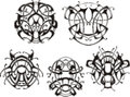 Symmetrical knot patterns set of black and white vector illustrations Stock Photography