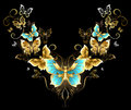 Symmetrical pattern of golden butterflies Royalty Free Stock Photo