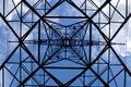 Symmetrical powerlines pylon Royalty Free Stock Photo