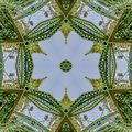Symmetrical repeating photo created from doubling a photo of a green bridge in California