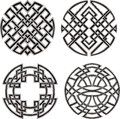 Symmetrical round knot patterns set of black and white vector illustrations Stock Images