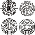 Symmetrical round knot patterns set of black and white vector illustrations Stock Photography
