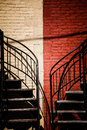 Symmetrical staircases with two different colors red and beige Royalty Free Stock Image