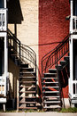 Symmetrical staircases with two different colors red and beige Stock Images