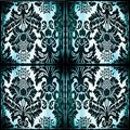 Symmetrical tapestry fabric with burned edges Royalty Free Stock Photo
