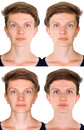 Symmetrical woman face four portraits of a young reflected flipped horizontally left and right sides merged together Royalty Free Stock Photo